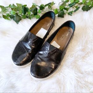 Toms Black Avalon Patent Leather Linen Sneakers